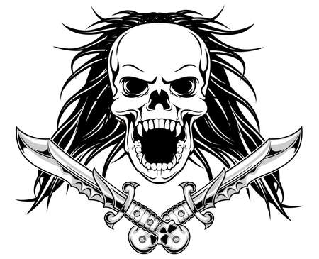 t shirt printing: long hair skull with daggers  Illustration