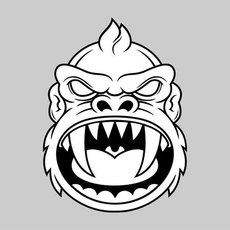 animal skull: illustration of black white monkey head