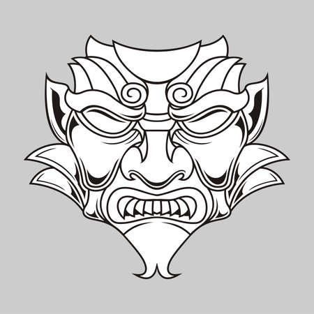 black в white: illustration of black white traditional mask  Illustration