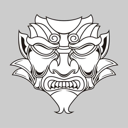 fekete-fehér: illusztráció fekete-fehér hagyományos maszk Illusztráció