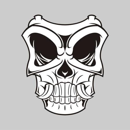 theater masks: illustration of black white horror mask