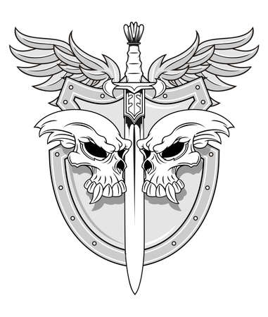 skull with sword and shield also wings