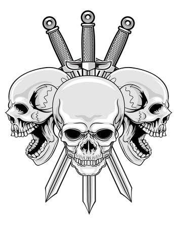 ilustración de tres cráneos con tres espadas Ilustración de vector