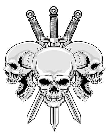 illustration of three skulls with three swords  Illustration