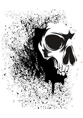 그런 지 추상 두개골의 그림