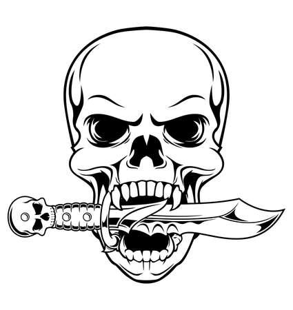 dagger tattoo: black white skull bite a dagger