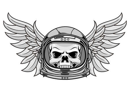 skull with astronaut helmet and wings Vector