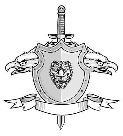 shield and sword with eagle head  Vector