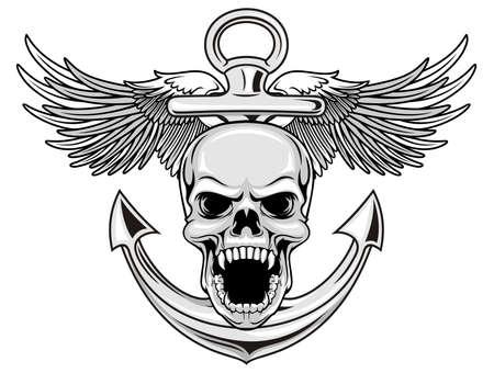 crâne avec l'ancre et des ailes