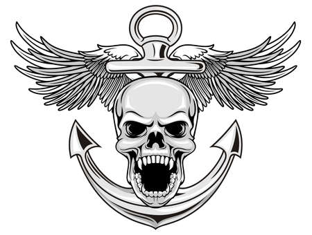 skull with anchor and wings Vector