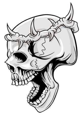 skull with crown of thorn  Ilustracja