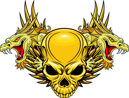 tete de mort: cr�ne avec double t�te de dragon Illustration