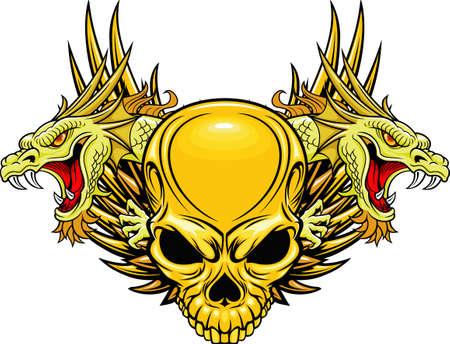 skull tattoo: schedel met dubbele draak hoofd Stock Illustratie