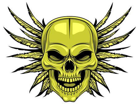life after death: green skull with spreading wings