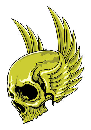 green skull with wings