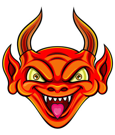 life after death: red devil smiling with horn and canine