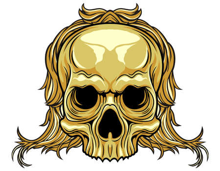 brown skull with hair