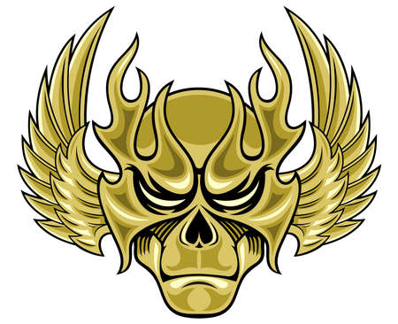 life after death: demon mask with spreading wings