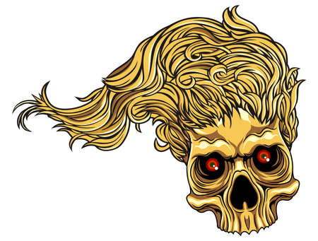 life after death: brown skull with long hair and red eyes