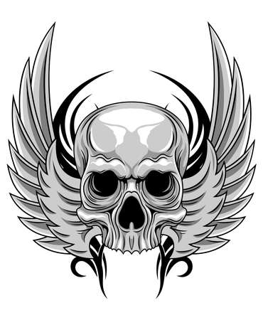 gray skull with spreading wings Ilustracja