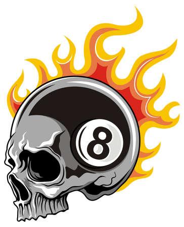 bola ocho: gris bola cráneo ocho con fuego llameante Vectores