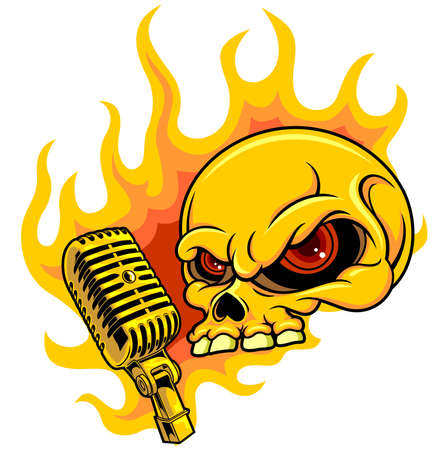 life after death: skull and microphone with flaming fire on background