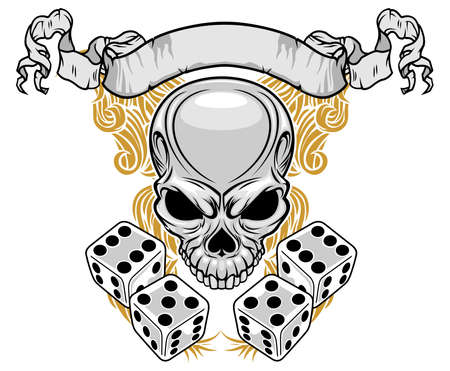 gray skull with ribbon and double dices Ilustracja