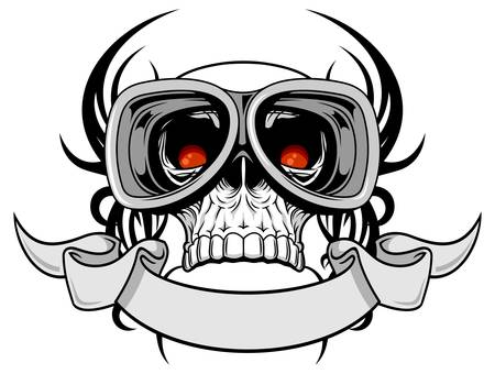 life after death: skull with goggle and gray ribbon