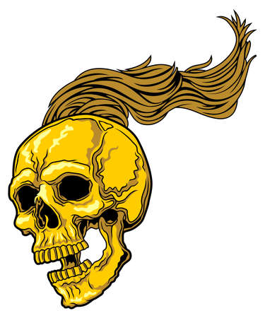 yellow skull with long brown hair Ilustracja