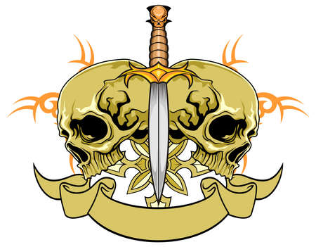skull with blade and scroll