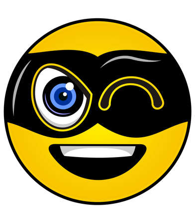 funny yellow smiley with black mask