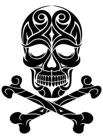 fekete-fehér: díszes fekete fehér koponya tetoválás