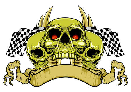 skull wth ribbon and racing flags on background Ilustracja