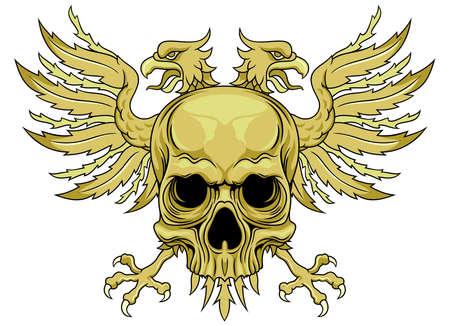 aigle: crâne avec aigle bicéphale