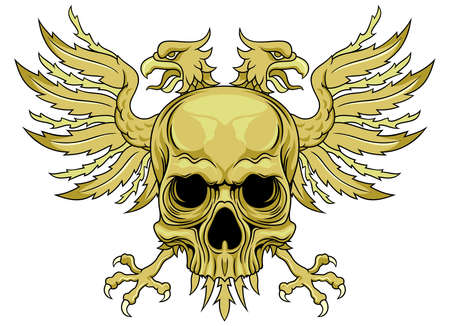 double headed: skull with double headed eagle