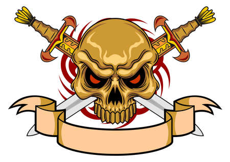 brown skull with swords and ribbon