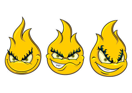 three flaming smiley with funny expression
