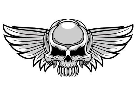 gray skull with spreading wings Illustration