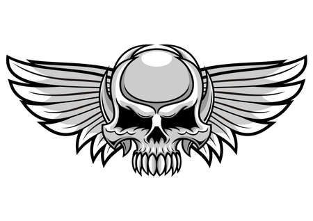 life after death: gray skull with spreading wings Illustration