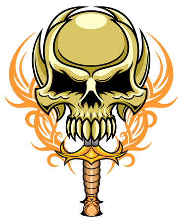 life after death: brown skull with dagger and background