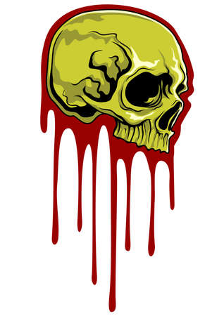 life after death: green skull with bloodstain on background