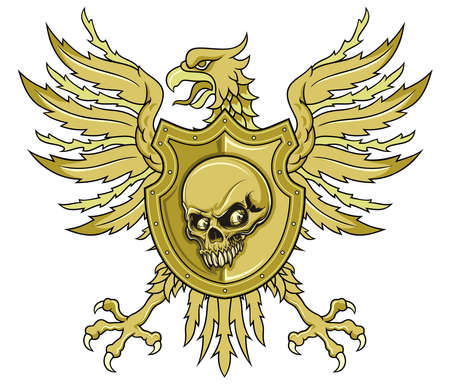 brown eagle spreading wings with shield and skull Ilustracja