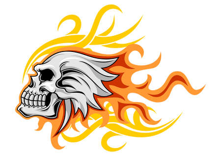 white skull with red flaming background Illustration