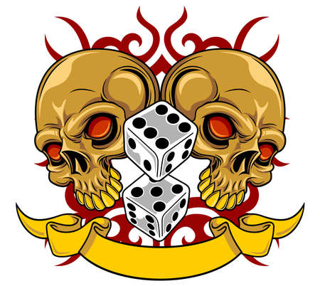 red heads: brown skulls with gray dices and ribbon
