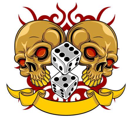 crânes bruns avec dés gris et ruban