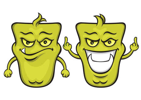 green monsters with funny expression