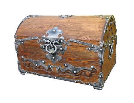 one closed piratical vintage wooden chest with rivet metal handle isolated on white background. old treasure, pirate concept