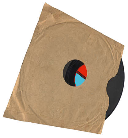 vintage envelope with packed single old retro vynil 78rpm audio record (object soundtrack frame) with scratches photo