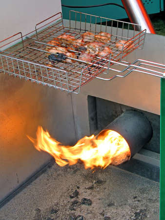 roasted meat, food preparation with fire, modern kitchen details photo