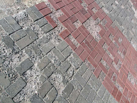 abstract damaged brick road, vintage construction details photo